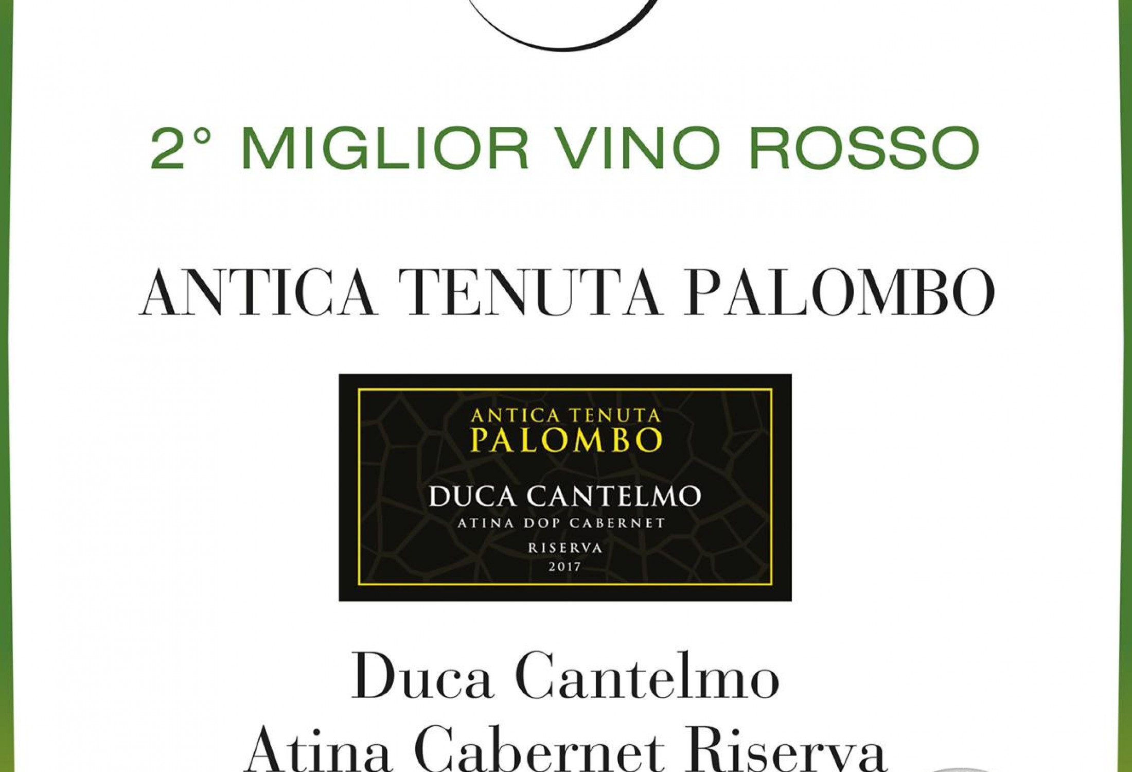 Duca Cantelmo Atina Cabernet Riserva del 2017 2°miglior vino rosso